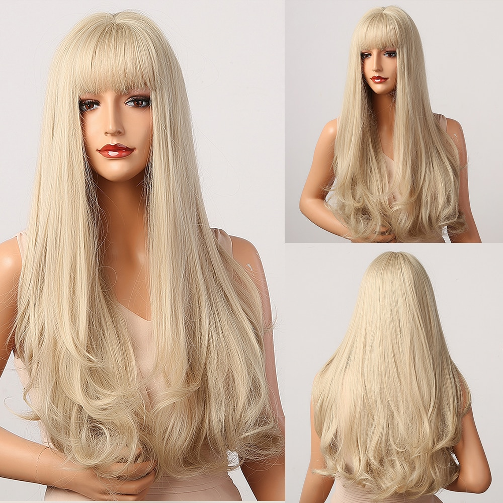 HENRY MARGU Long Platinum Blonde Wavy Synthetic Wigs for Women Natural Cosplay Party Wigs with Bangs Heat Resistant Daily Wigs