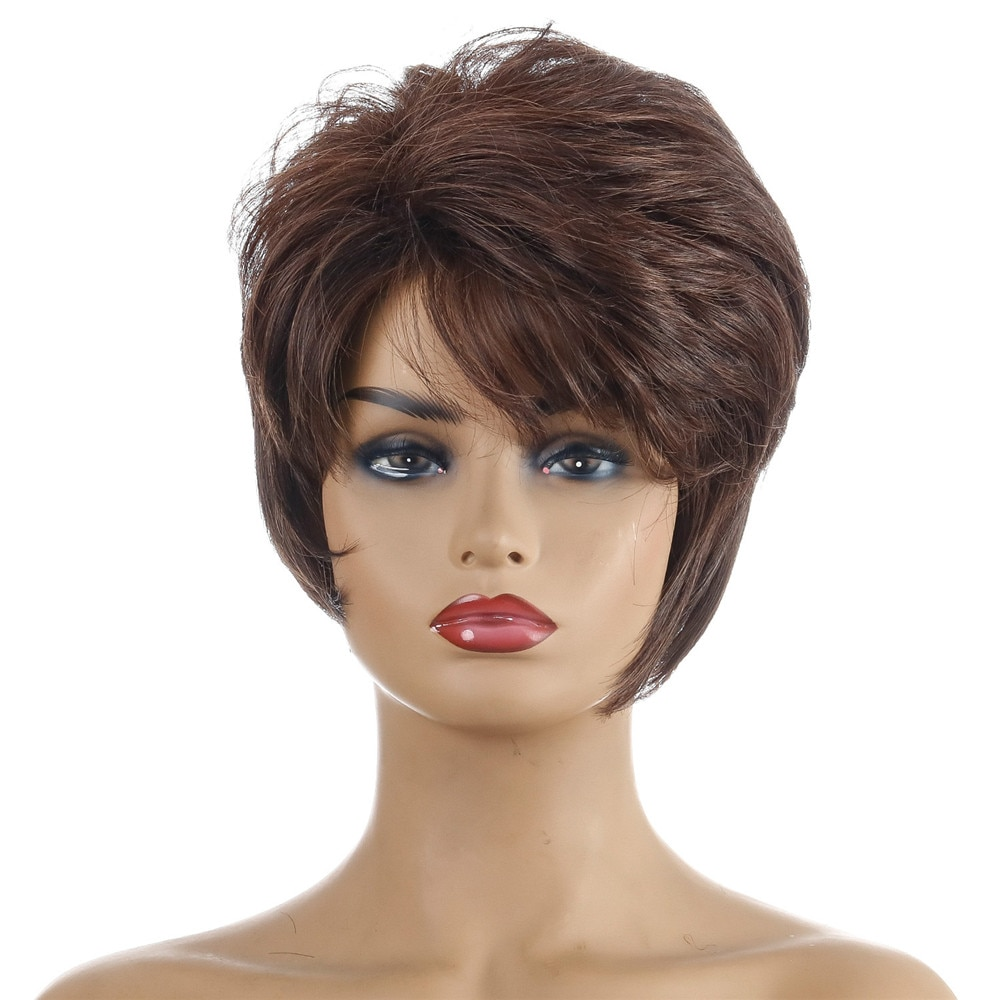 Short Dark Brown Nature Wavy Synthetic Wig Heat Resistant Fiber Wig With Bang For Women Daily Party Use Nature Looking Wig