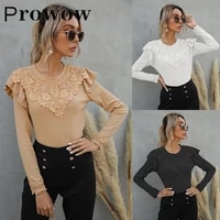 prowow lace solid t shirts women spring autumn fashion lace patchwork o neck shirts casual loose long sleeve pullovers tops