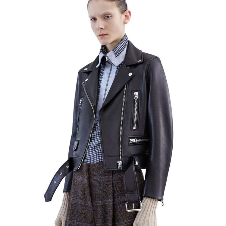 Genuine Leather Sheep Skin Leather women's Locomotive Leather Bomber Jackets In Belt Coat Big Size Motorcycle Jacket