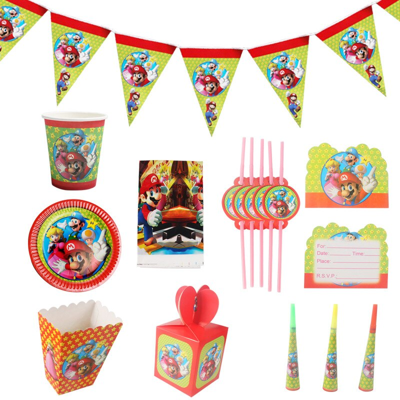 Super Brothers Napkin Tablecloth Paper Plate Baby Shower Decoration Super-Mario Theme Birthday Party Supplies