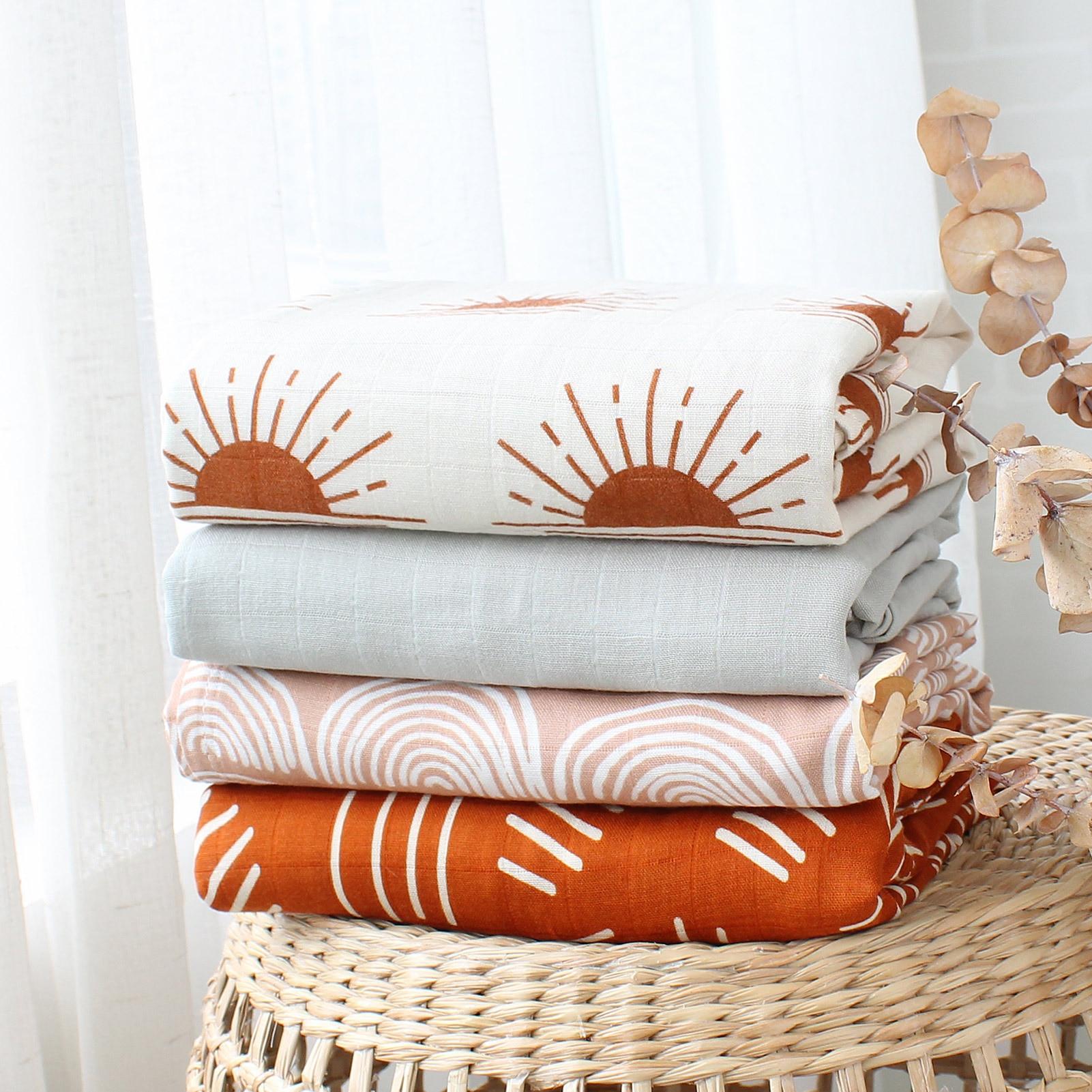 120x120cm Muslin Blanket Cotton Baby Swaddle Bamboo Soft Newborn Blanket Bath Towel Gauze Infant Wrap Sleepsack Stroller Cover