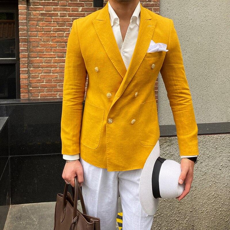 Estilo Britânico Tendência Marca Moda 4 Cores Verão Linho Blazer Masculino Fino Terno Jaqueta Itália Homens Festa Jantar Social
