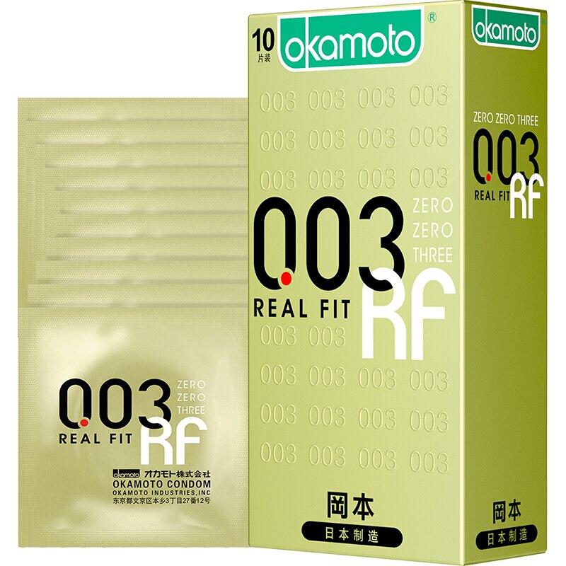 Original Okamoto Zero tres Real Fit 003 condones íntimos productos anticonceptivos sexo pene manga condones para hombres