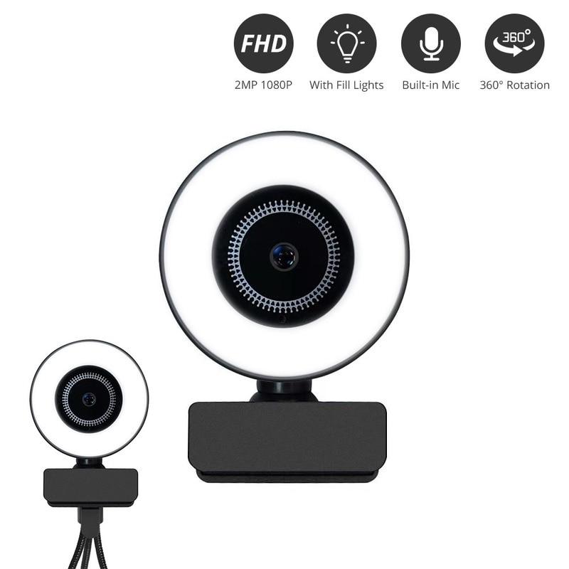Usb Computer Camera 2K/4K Fill Light Autofocus HD online Class Video Microphone for Google Meet TikTok Living Streamer Pc Gamer