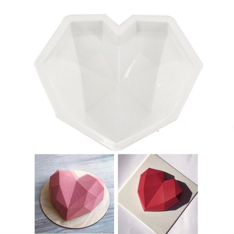 Moldes de silicona con forma de corazón de amor y diamantes en 3D para hornear, moldes para pasteles y postres, para accesorios de cocina