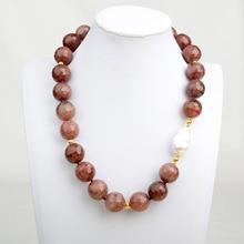Collier femme 20 18mm fraise Quartz Lepidocrocite blanc Keshi perle