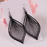 women jewelry fashion statement earrings 2021 new design hot selling geometric black leaves drop earrings for women party gifts