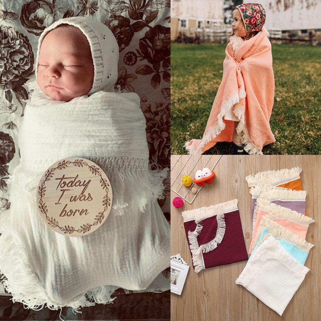 Muselina recién nacido borla sólida bebé Swaddle manta de recepción Swaddle Wrap