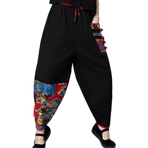 Pantalons décontractés rétro pour les femmes au printemps et en automne style chinois coton lin grande taille pantalon à jambes larges knickerbockers en vrac