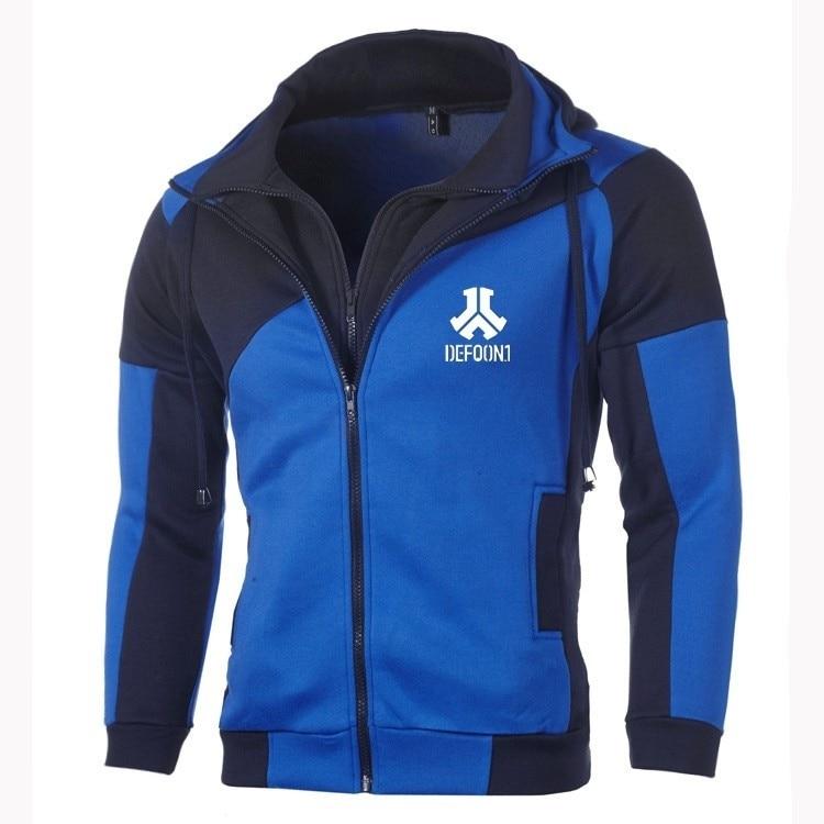 Moda para hombres Defqon.1 Casual sudadera ropa deportiva Casual chaqueta abrigo Hip Hop doble cremallera algodón Sudadera con capucha Cardigan