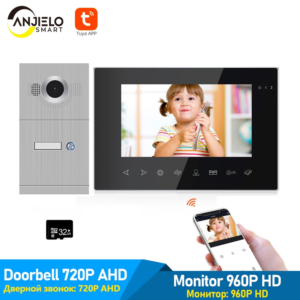 wireless wifi ip box for video doorphone doorbell building intercom system control 3g 4g android iphone ipad app on smart phone 7 Inch Tuya Smart App Remote Control Wifi IP Home Video Doorphone Intercom System 960P HD monitor With 720P AHD Video Doorbell