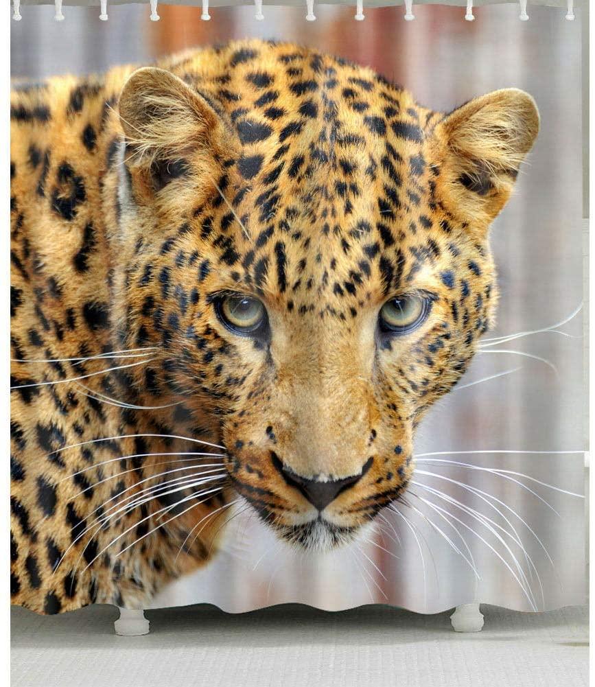 Cortina de ducha con diseño de leopardo para cuarto de baño tela...