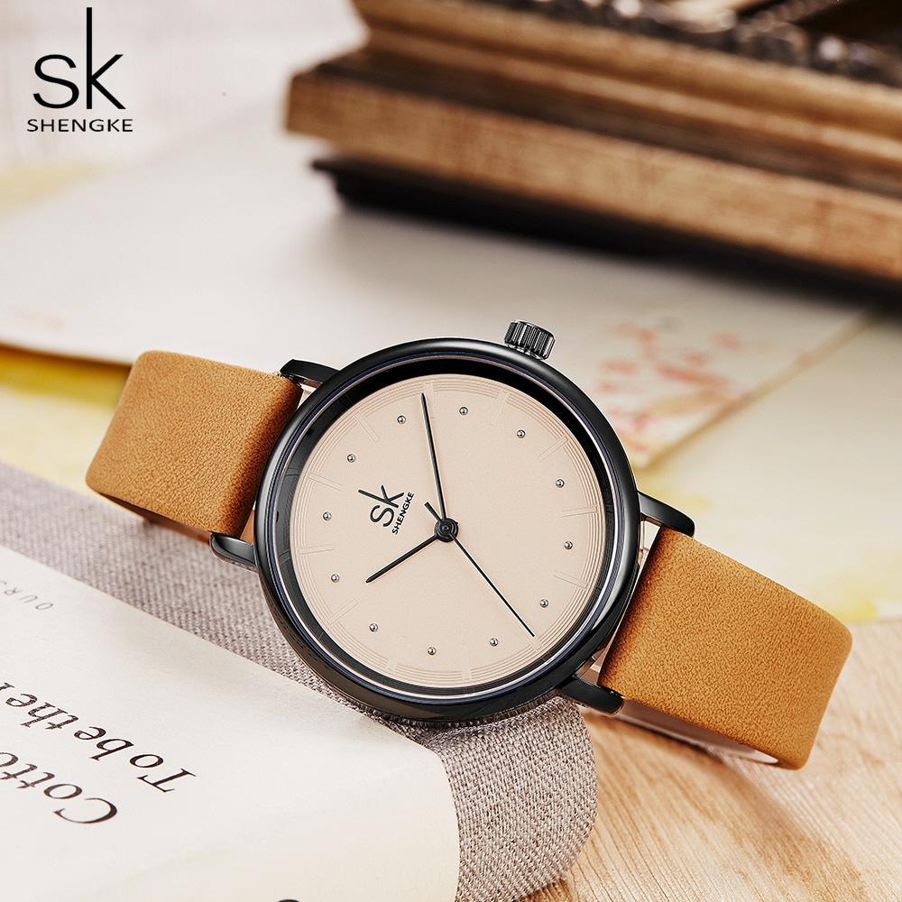 shengke simple women dress watches retro leather female clock Top brand women's fashion mini design Quartz wristwatches clock