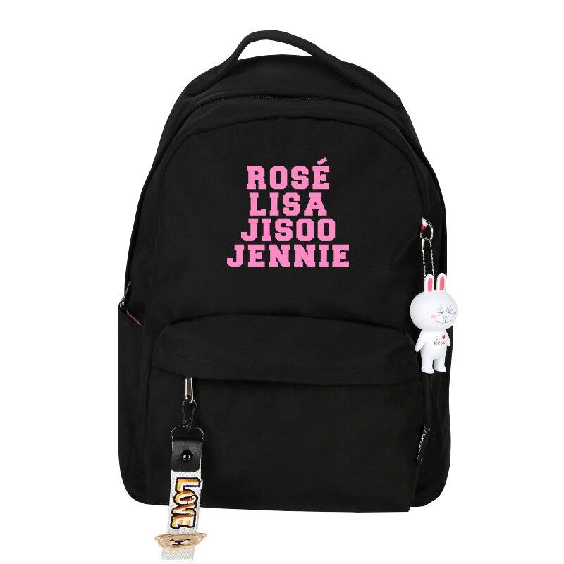 Blackpink jisoo rosa lisa mochila de viagem das mulheres rosa escrever lona mochilas escolares blackpink rugzak