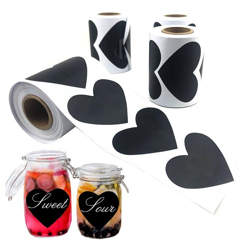 150 Uds./rollo etiqueta adhesiva de pizarra del corazón amor perfecto para mason jarras despensa pegatinas para almacén pegatina impermeable pizarra