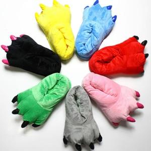 2021 Winter Warm Soft Indoor Floor Slippers Women Men Children Shoes Paw Funny Animal Christmas Monster Dinosaur Claw Plush Home