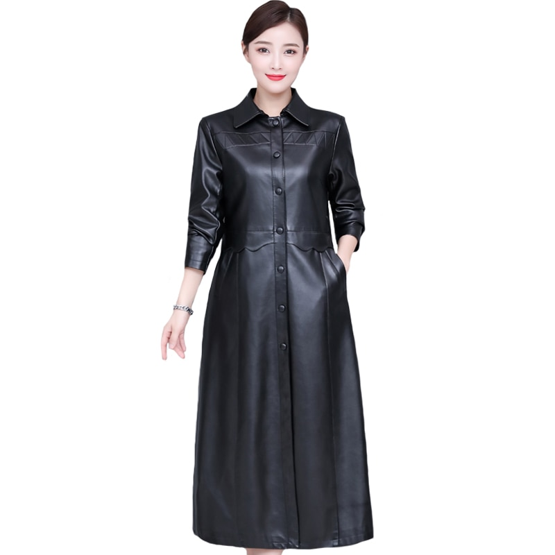 Autumn Winter Women Leather Jacket Plus Cotton Elegant Plus Size 5XL X-Long PU Leather Trench Coats Fashion Faux Leather Coat enlarge