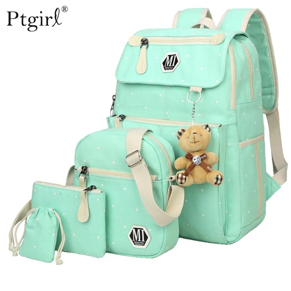 Women Canvas 4Pcs/set School Backpacks College Schoolbag Ptgirl Children Travel Bag Cute Cloud Print