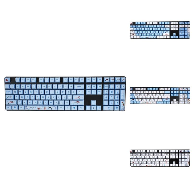 SPYSELF-أغطية مفاتيح لوحة المفاتيح الميكانيكية PBT ، 108 مفتاح ، تسامي الصبغة ، Koi Fish ، لـ GANSS IKBC