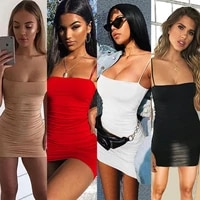 womens summer sexy suspender pleated buttock wrapped nightclub dress 8602