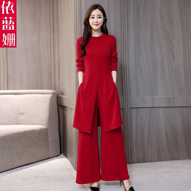 Luxury Suit Fashion Temperament Long-sleeved Korean Version Was Thin Hong Kong Wide-leg Trousers Two-piece Dress Female Autumn