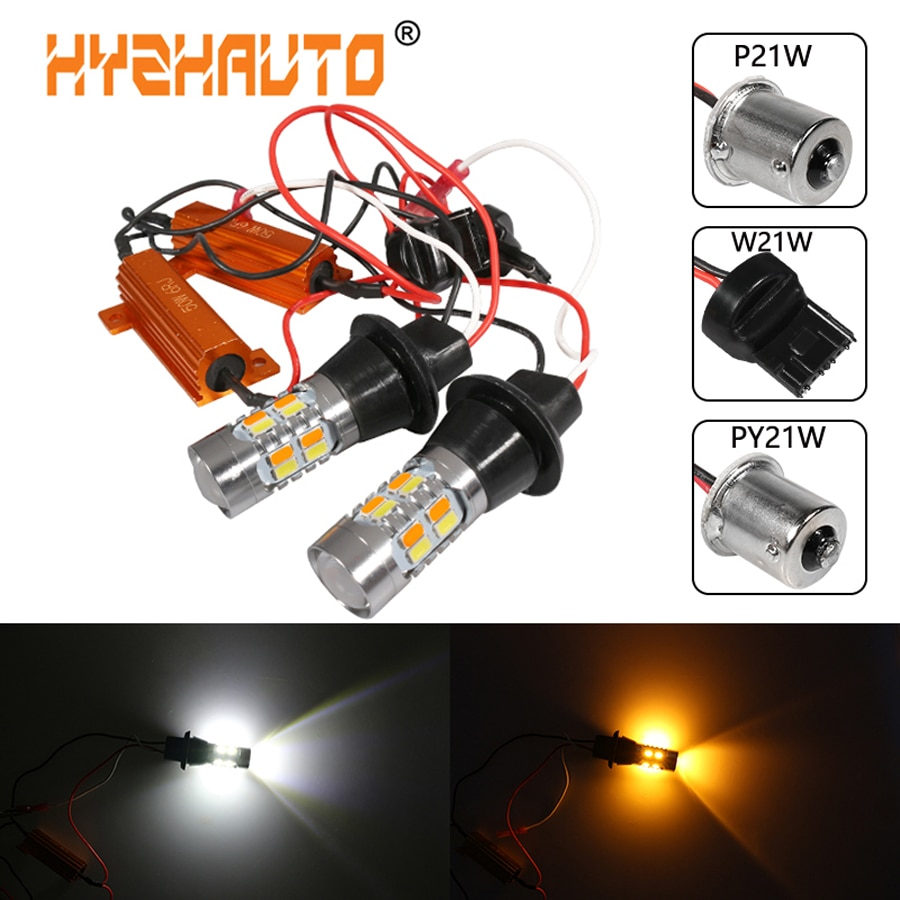 HYZHAUTO 2 шт. 1156 T20 светодиодные двухцветные Canbus лампы w21w P21w Py21w СВЕТОДИОДНЫЕ указатели поворота DRL без вспышки желтый белый 5630 20SMD
