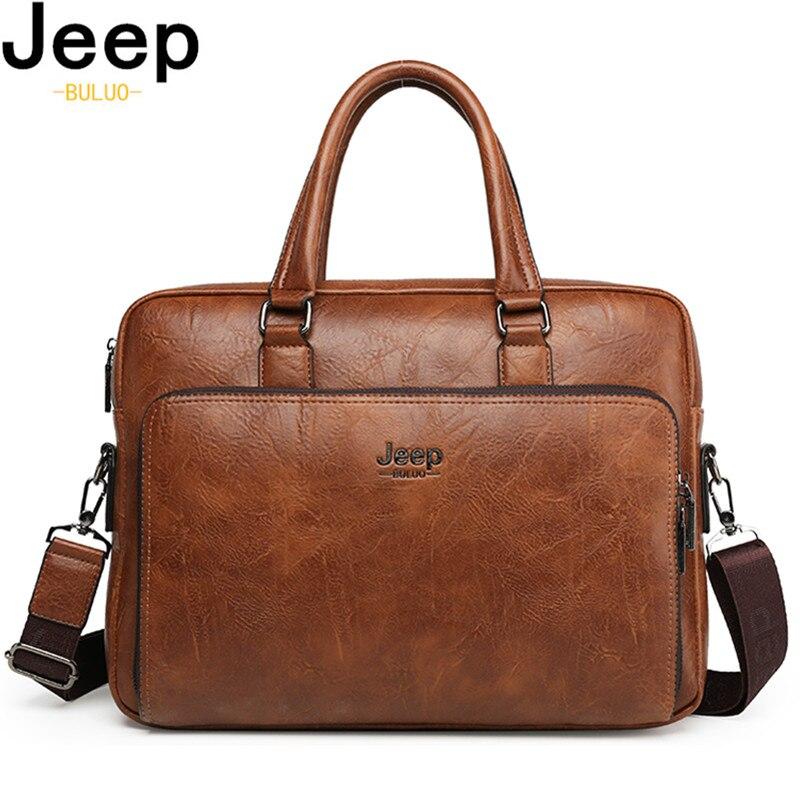 Мужской портфель из спилковой кожи JEEP BULUO, оранжевый портфель для ноутбука 14, деловая сумка для офиса, все сезоны, 2019