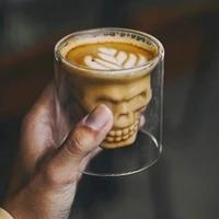 1pcs 75ml skull wine glass mug latte coffee whiskey transparent glass cup vodka drinking bar club wine glass