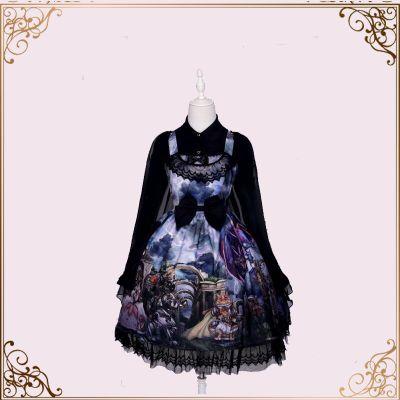 JSK gótico Lolita vestido de doncella corte dulce lindo estampado encaje Bowknot altura cintura Falbala vestido Kawaii chica blusa Headress