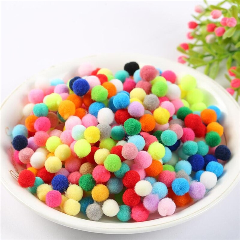 200 unids/set 10mm pompones Pom-Pom artesanía material hecho a mano Material de peluche bola muñeca accesorios de ocho colores