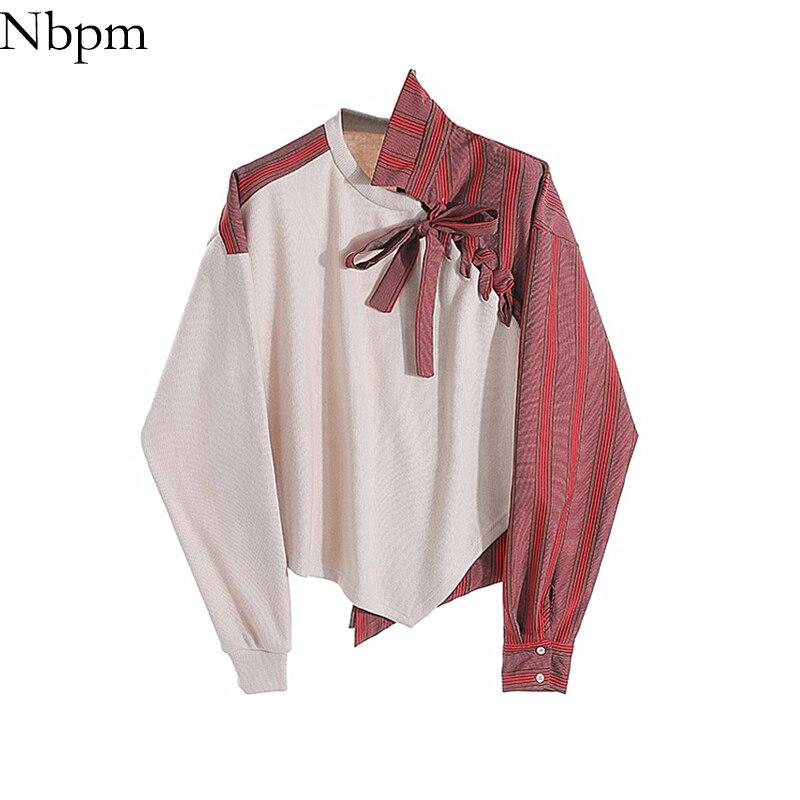 Nbpm Women Blouses Fashion 2021 Patchwork Blouses Irregular Shirt Blusas Mujer Elegant Long Sleeve Women's Clothing Top Female