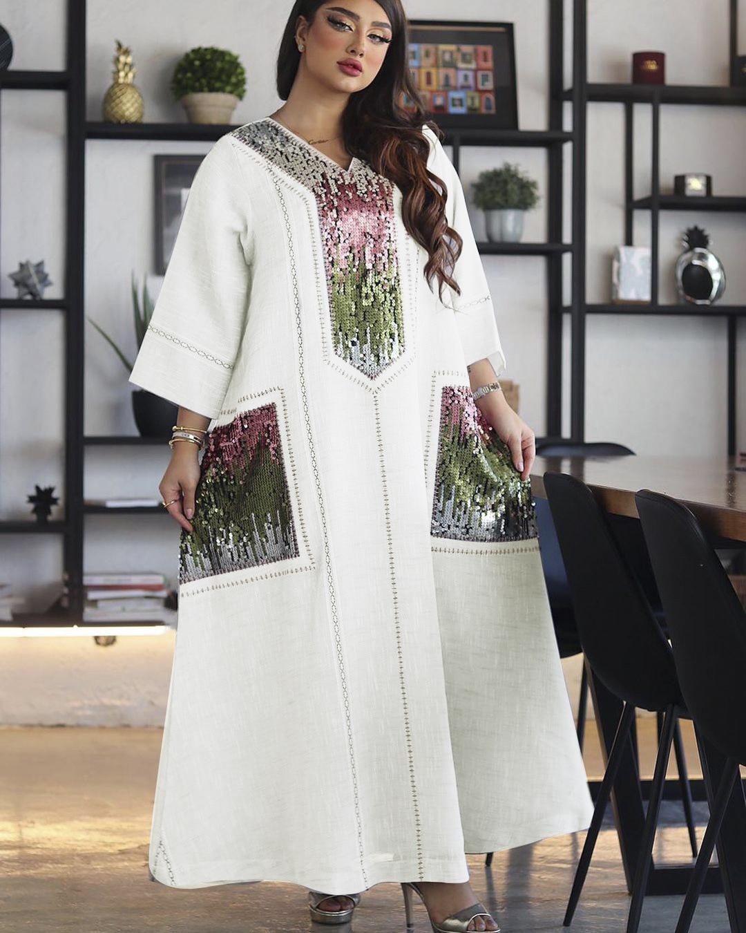 Vestido Abaya bordado de lentejuelas para mujer, vestido musulmán árabe de Omán,...