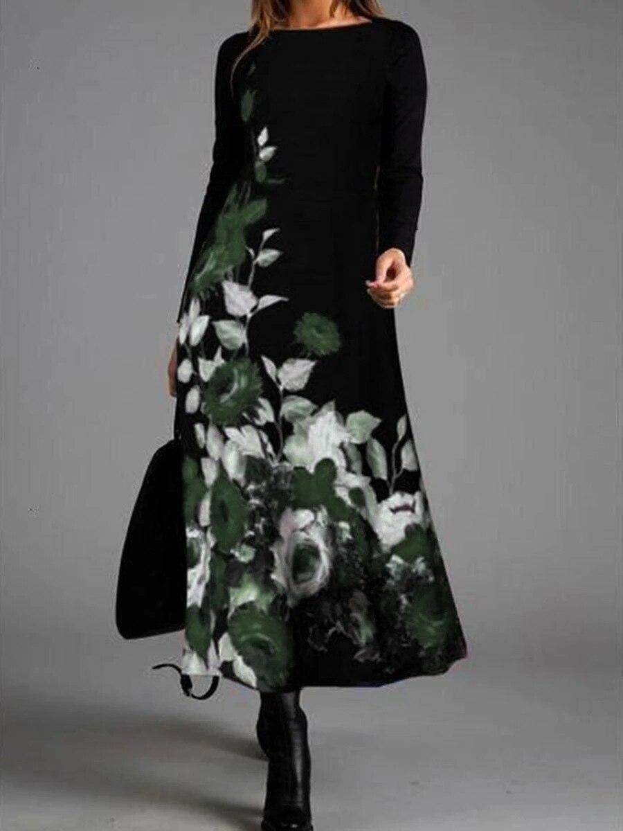 aliexpress.com - Black Dress Vintage Women Fashion Floral Print Dress Casual Long Sleeve Midi O Neck Ladies Maxi Elegant Party Boho Prom Dresses