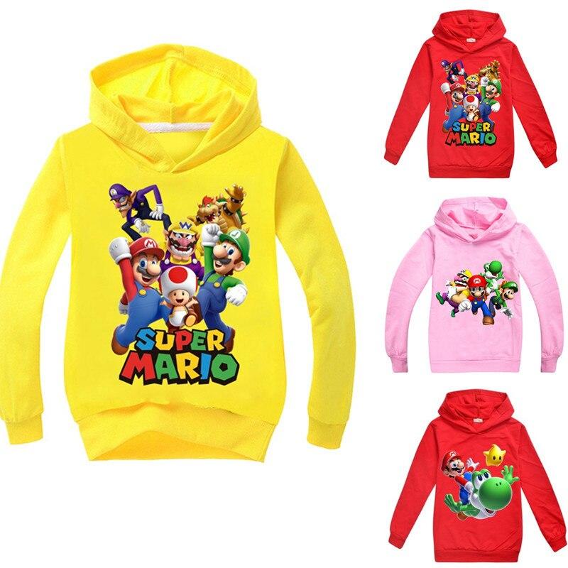 Novedad super Mario niños manga larga camisetas de algodón niños camiseta otoño Tops de niños niñas 3-14Y niños ropa