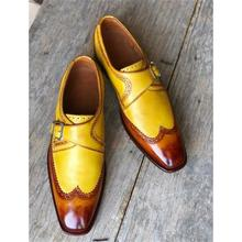2021Handmade Men's High Quality PU Brown Yellow Pointed Toe Low Heel Comfortable and Fashionable Sin