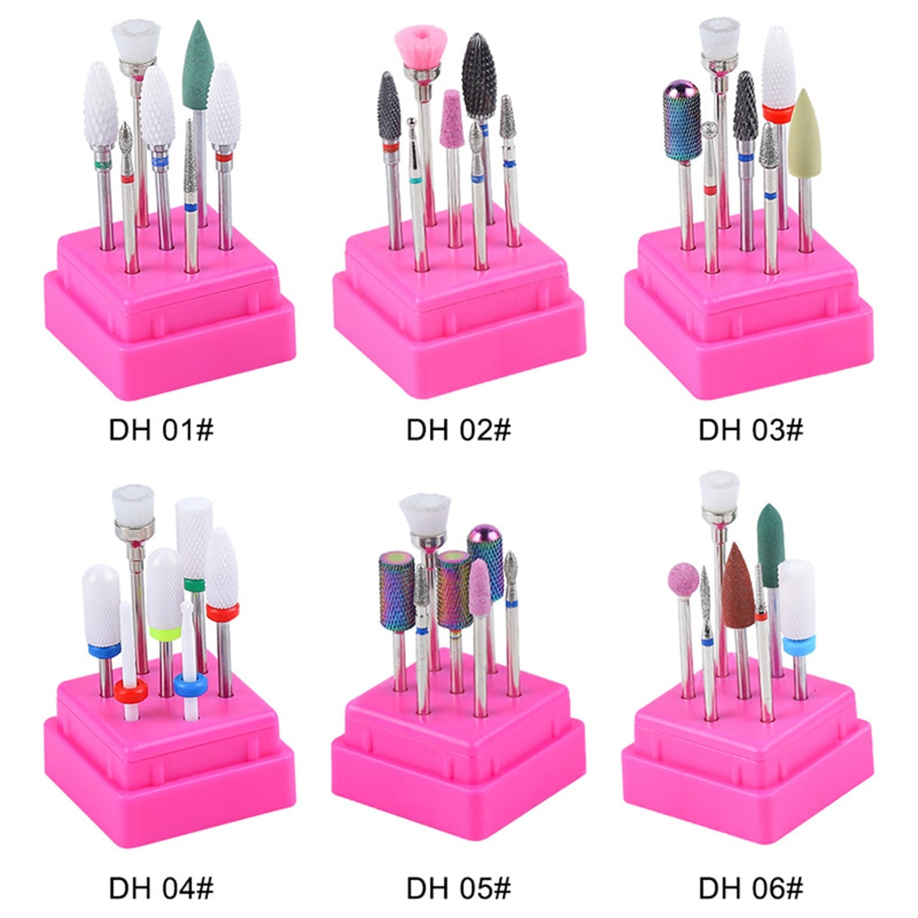 7 unids/set taladro de cerámica para uñas Bits caja de acrílico de la fresa manicura máquina limas eléctricas para uñas de Arte de kit de herramientas
