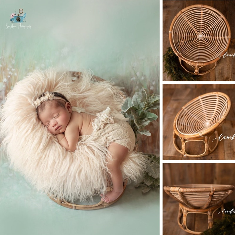 Newborn Photography Props Basket Handmade Vintage Bamboo Radar Chair Bed Baby Boy Picture Prop Photo Posing Accessories Infant
