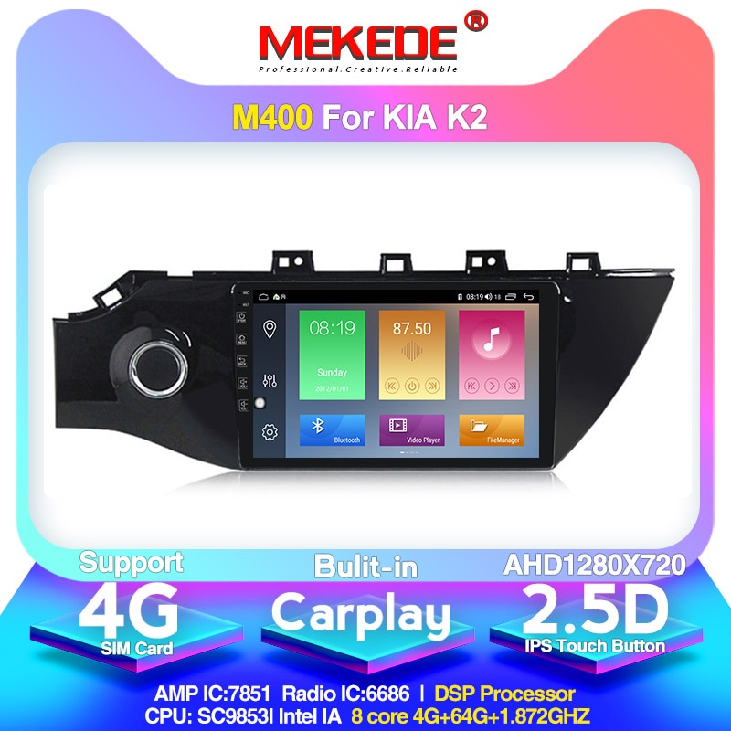 Navegación gps para coche Mekede para 4 KIA RIO 2016 - 2019 reproductor de vídeo Multimedia con Radio para coche Android 10,0 integrado carlay 4G DSP IPS