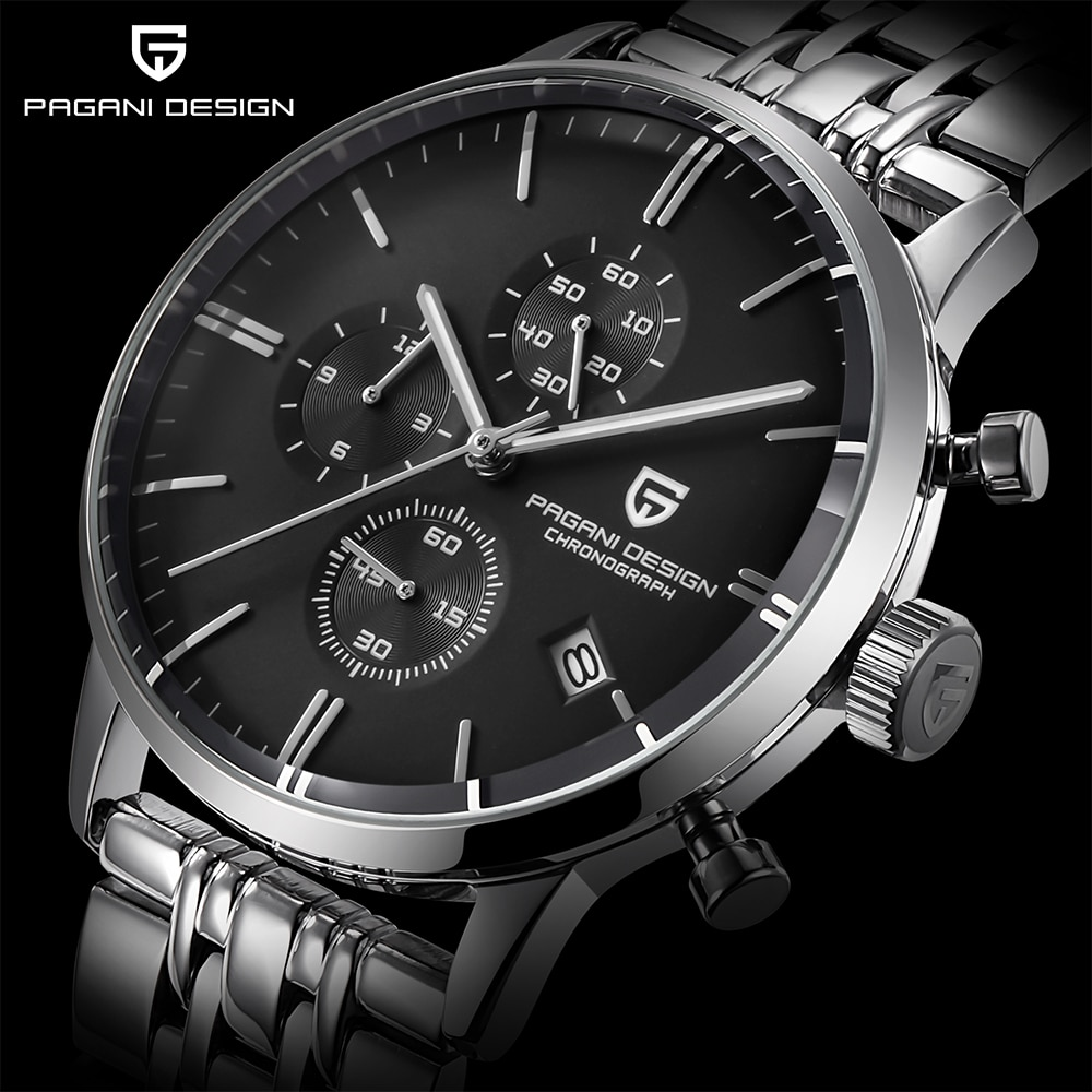 PAGANI تصميم العلامة التجارية كوارتز ساعة فاخرة الرجال الفولاذ المقاوم للصدأ مقاوم للماء VK67 كرونوغراف الأعمال الياقوت ساعات رجالي reloj