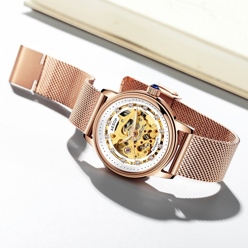 AESOP Fashion Silver Gold Automatic Watches Women Top Brand Luxury Waterproof Mechanical Wristwatch For Ladies Relogio Feminino enlarge