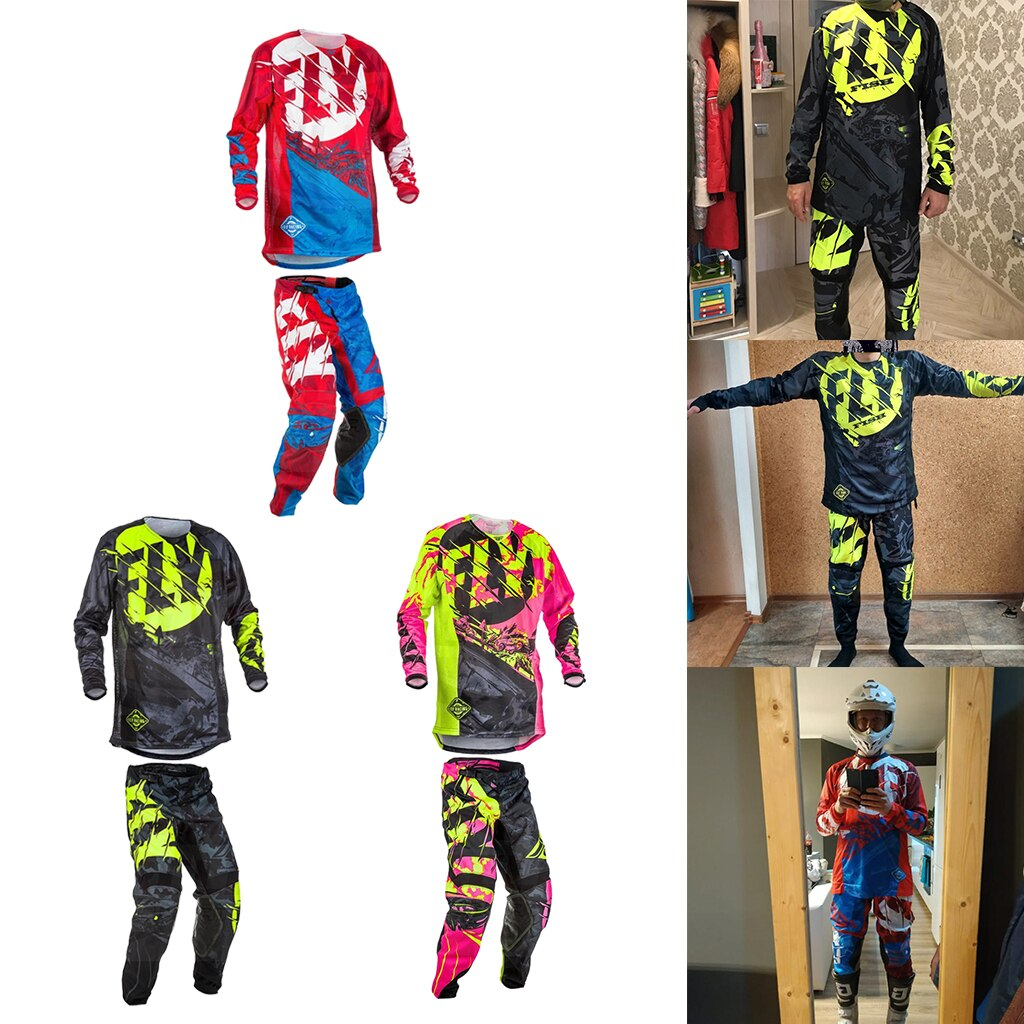 1 set Fly Fish Motorcycle Jersey Pants Combos Men Adult Motocross MX Racing Moto Dirt Bike Protective Gear Suit Set Motor Clothe