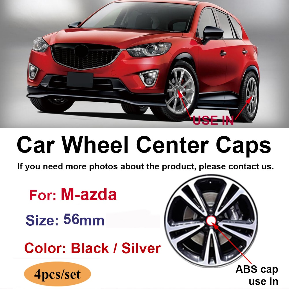 4pcs 56mm Car Wheel Center Cap Black Silver Auto Logo Rim Hub Covers Exterior Accessories For Mazda 3 6 626 CX-3 CX-4 CX-5 CX-30