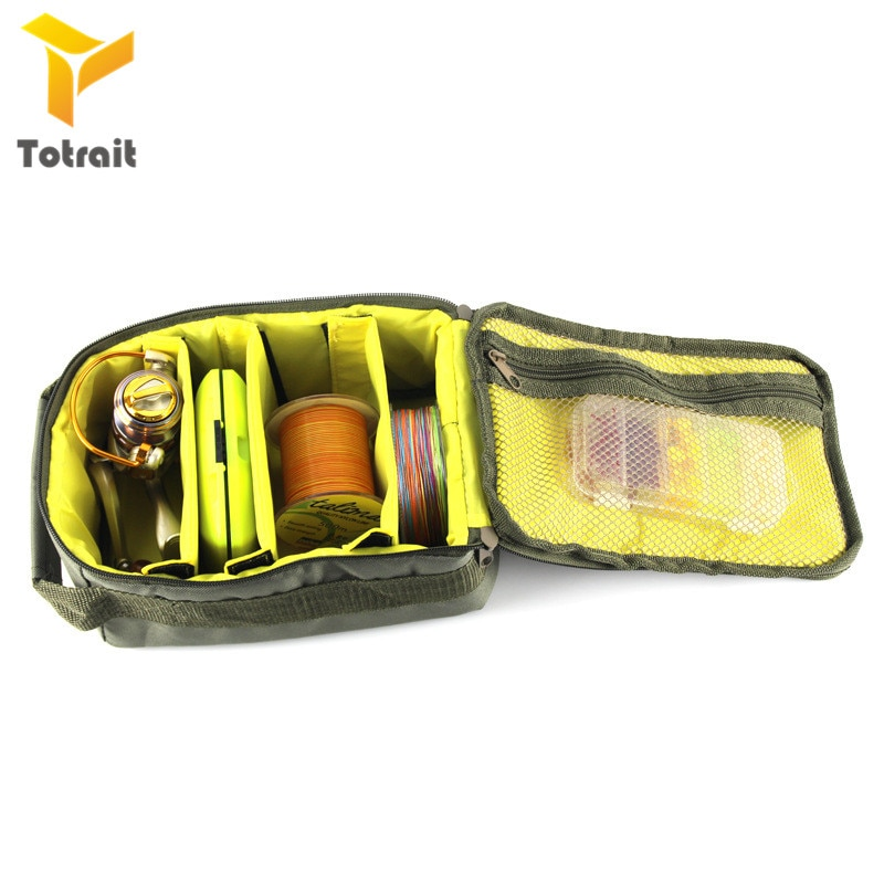 TOtrait Fishing Reel Bag Portable Multiple Compartments Outdoor Fishing Line Handbag Polyester Fishing Storage Bags green enlarge