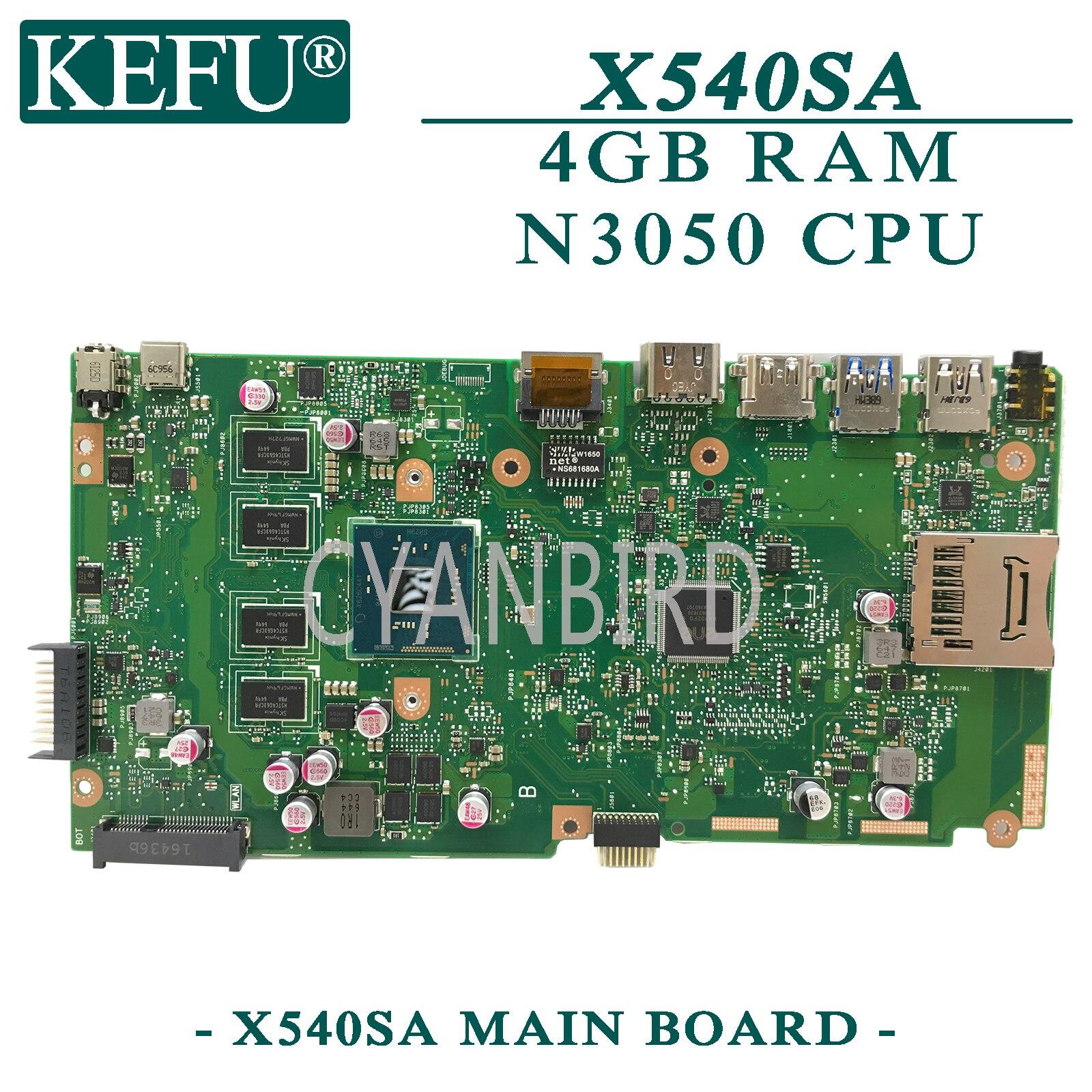 KEFU X540SA оригинальная материнская плата ASUS X540SAA с 4GB-RAM N3050 материнская плата для ноутбука
