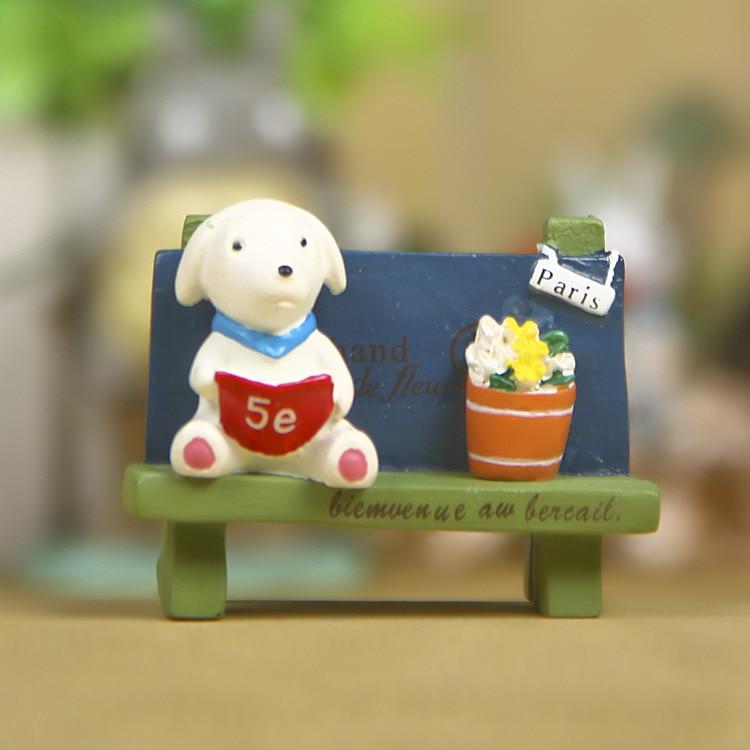 Banco de lectura de cachorros suculentas ornamentos decorativos de resina mano Oficina muñeca