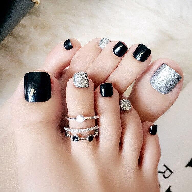 Amazing Fashion Front 24 sheet/set Fake False Toenail Press on Stickers Black Silver Glitter Manicure Foot Wear Nail Tips J48