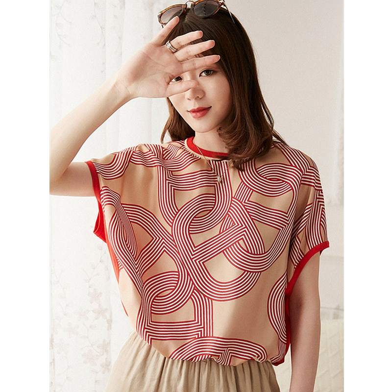 Top women 100% silk high quality printing and dyeing batwing sleeves 2 colors ladies casual t-shirt new fashion