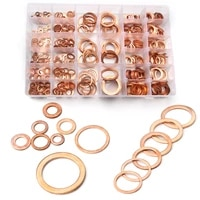 568pcs sizes assorted solid copper crush washers seal flat ring set with case 25 cm circle products