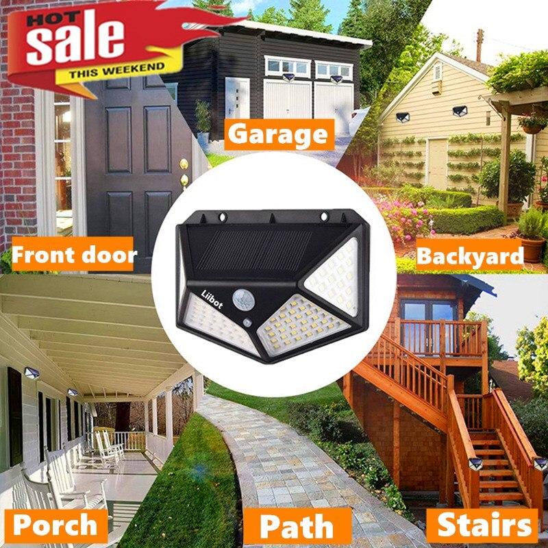 100 LED Solar Light Outdoor Solar Wall Lamp IP65 PIR Motion Sensor Lampara Solar Lighting for Garden /backyard/ Path /garage
